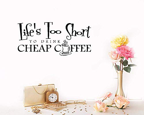 Lettering Words Wall Mural DIY Removable Sticker Decoration Life's Too Short to Drink Coffee Coffee Shop