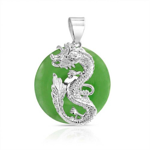 Asian Style Dragon Round Open Circle Disc Dyed Green Jade Pendant 925 Sterling Silver Necklace For Women 18 Inch ()
