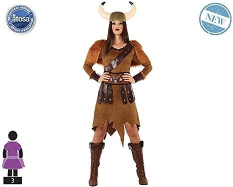 Atosa-61402 Atosa-61402-Disfraz Vikinga-Adulto Mujer, Color marrón ...