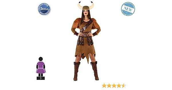 Atosa-61403 Atosa-61403-Disfraz Vikinga-Adulto Mujer, Color marrón ...