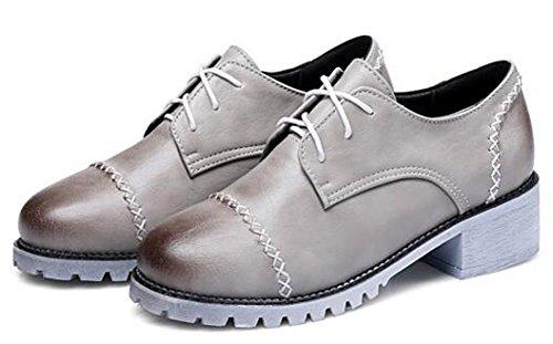 Idifu Vrouwen Casual Lage Top Lace Up Brogues Oxfords Schoenen Midden Dikke Hakken Grijs 1