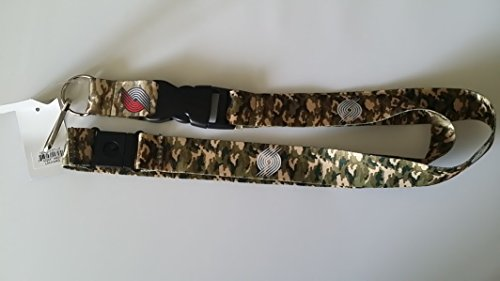Portland Trail Blazers NBA Brown Camo Lanyard with team color buckle