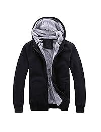 Win8Fong Men's Winter Thick Velvet Hooded Zip Hoodies Sweatshirts Coat