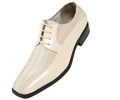Ivory Leather Shoes (Viotti Men's Formal Oxford Dress Shoe, Striped Satin and Patent Tuxedo Classic Lace Up, Style 179)