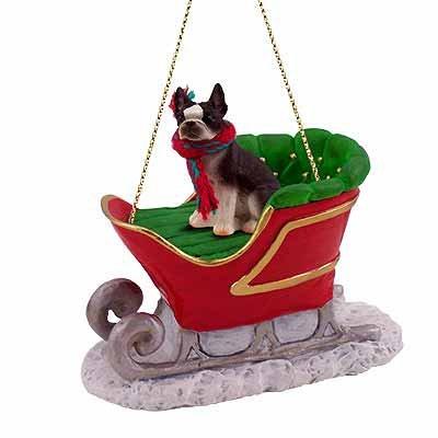 - Boston Terrier Dog in Sleigh Christmas Ornament New