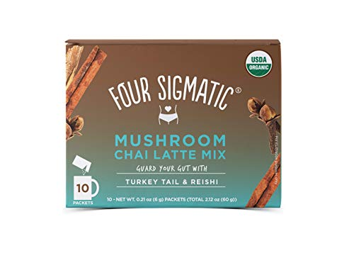 Four Sigmatic Chai Latte with Turkey Tail & Reishi Mushrooms - Dairy-free, USDA Organic Latte with Coconut Milk Powder - Gut, Digestion - 10Count ()