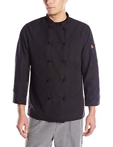 Red Kap Chef DesignsSpun Poly Black Chef Coat, Black, 5X-Large