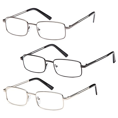 Gamma Ray Men's Reading Glasses - 3 pc Stainless Steel Flex Readers for Men - 3.50