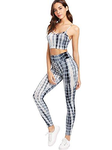 438d6fa1ac461 SweatyRocks Women s Two Piece Outfits Tie Dye Crop Top Leggings Set  Tracksuit Multicolour XL