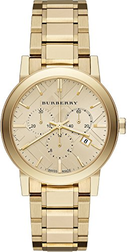 SALE! Authentic Burberry LUXURY Gold 2014 Womens Unisex Men The City Chronograph Watch - For Sale Men Burberry