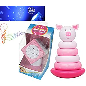 Pig Pink Girl Nursery Montior Bundle Baby Lullaby Night Light & Music Cube Bundled with Magnetic Pig Stacker Toy 2 Items