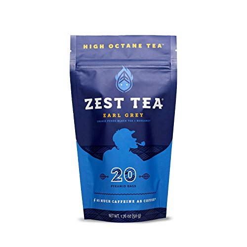 Zest Tea Energy Hot Tea, High Caffeine Blend Natural & Healthy Traditional Black Coffee Substitute, Perfect for Keto, 150 mg Caffeine per Serving, Earl Grey Black Tea, 20 Sachets (1 Pouch)