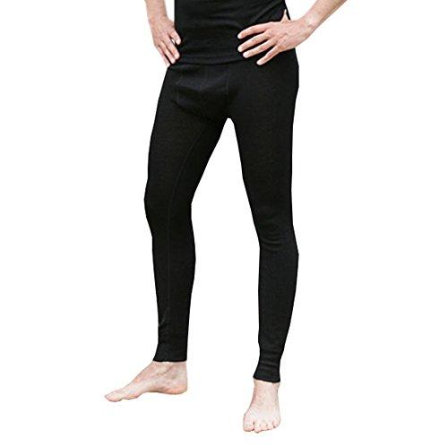 EcoAble Apparel Men's Thermal Leggings Pants Base Layer, Organic Merino Wool Silk Blend (EU 50-52/Large, Black)
