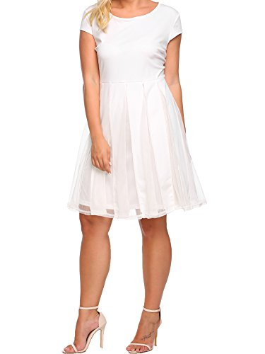 White Party Dress Ideas - Zeagoo Plus Size Women Cap Sleeve Mesh Patchwork Party Pleated Swing Dress, White XL