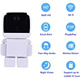HD Wireless Robot IP Camera 960P Security Camera 1.3MP CMOS Baby Monitor Pan Tilt Remote Home Security IR Night Vision for Mobile Android/IOS and Laptop (White)