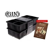 Mit GRATIS Gin Tonic Rezeptheft - 2er Pack XXL-Eiswürfelform für je 8 Eiswürfel, 5x5 cm Eiswürfel, riesige Eiswürfelform, 100% BPA frei, Lebensmittelecht, kühlt lange und verwässert nicht.