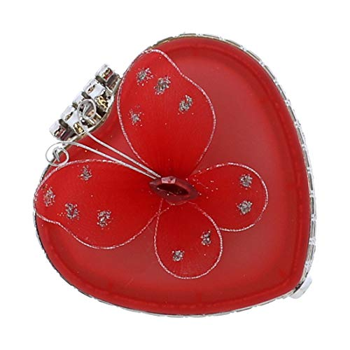 Li'Shay Glass Heart Shaped Trinket Jewelry Box with Butterfly - Red ()