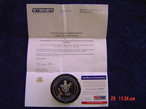(Tampa Bay Lightning Alex Killorn Game Used Signed 2015 Playoff Goal Puck - Steiner Sports Certified - Autographed Other Game Used NHL Items)