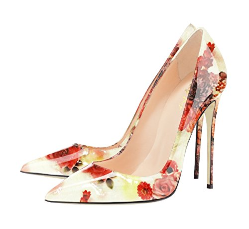 Graffiti High Stilettos Slip Heel Toe Women's SexyPrey Watermelon Pointed Court F Shoes Red color On Pumps Multi Floral v8Yqwtq