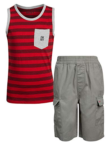 DKNY Boys' 2-Piece Summer Tank Top and Cargo Short Set, Light Griffin, Size 2T'