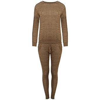 femmes vêtement de Loisirs survêtement COMBI Jogging Ensemble pull haut  pantalon bas - Beige 63b7895cf3c
