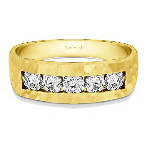 14k Yellow Gold Gent's Ring Charles Colvard Created Moissanite(0.87Ct) Size 3 To 15 in 1/4 Size Intervals