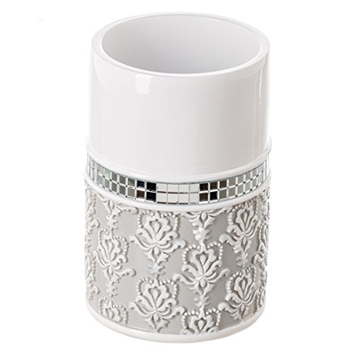 Creative Scents Mirror Damask Bathroom Tumbler Cup, Decorative Rinse Cup for Water, Best Tumblers for Mouthwash/ Rinsing (Gray & White)