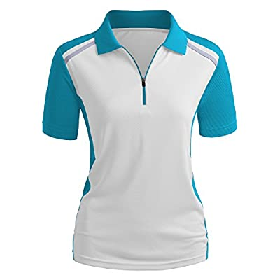 CLOVERY Women's Active Wear Short Sleeve Zipup Polo Shirt at Women's Clothing store