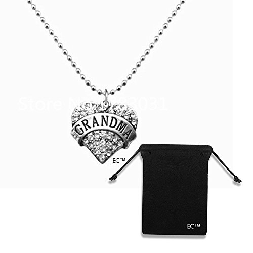 EC (tm) Greatest Grandma Charm Necklace & Mothers Day Gift Idea & Velvet Drawstring Jewelry Bag - 2 Pack COMBO - Crystal Engraved Necklace & Pendant Bead Chain Grandma Gifts (1 Necklace With 1 Pouch) Personalized Velvet Stocking