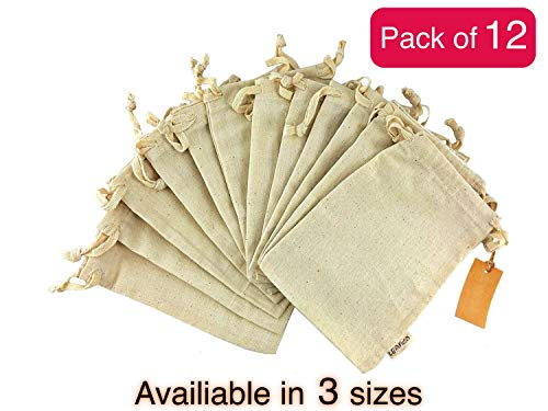 12 Pcs Organic Cotton Reusable Produce Bags | Biodegradable Eco-Friendly Bulk Bin Bags for Food | Small 5x7 | Sachet Bags - Fruit Vegetable Storage | Drawstring Pouch - Produce Linen Bag by Leafico