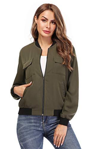 MISS MOLY Women Classic Zip Up Rib Collar Lightweight Jackets Casual Solid Biker Bomber Jacket Coat Army Green M - Rib Bomber