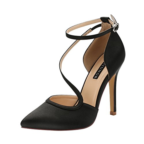 Satin Heel High Black Pumps (ERIJUNOR E1706H Women Evening Wedding Shoes Pointed Toe High Heel Prom Satin Pumps Black Size 8)