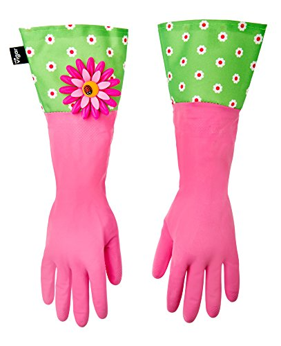 - Vigar Pink Latex Gloves with Extended Flower Power Motif Cuff, 16-7/8-Inches Long