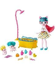 Enchantimals GJX36 - Enchantimals Spetterende Badpret Waterspeelset met Pop van Petya Varkentje 2 varkenfiguren en meer dan 11 Accessoires