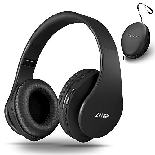 13 - Wireless Bluetooth Headphones Over-Ear with Deep Bass, Foldable Wireless and Wired Stereo Headset Buit in Mic for Cell Phone, PC,TV, PC,Light Weight for Prolonged Wearing (Black)