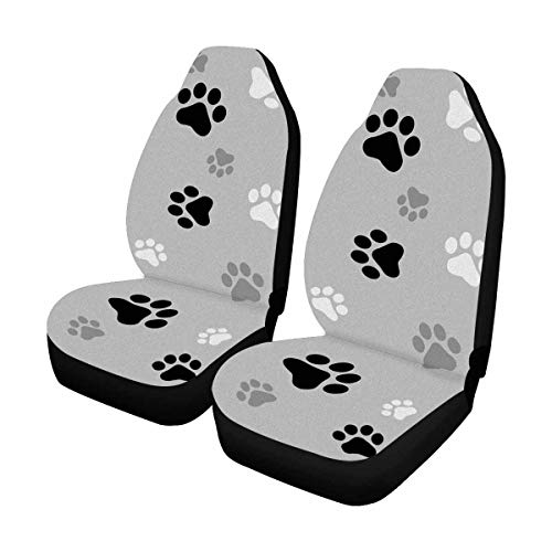InterestPrint Animal Paw Prints Front Car Seat Covers Set of 2, Vehicle Seat Protector Car Mat Covers, Fit Most Vehicle, Cars, Sedan, Truck, SUV, Van (Covers Seats Car Animal Print)
