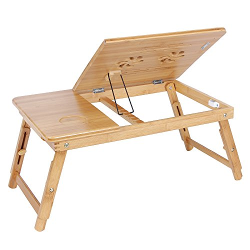 SONGMICS Bamboo Laptop Desk Serving Bed Tray Tilting Top ULLD001 by SONGMICS (Image #4)
