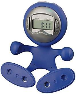 Biegsame Uhr / Wecker mit Alarmfunktion, Memoclip am Hinterkopf / Farbe: blau