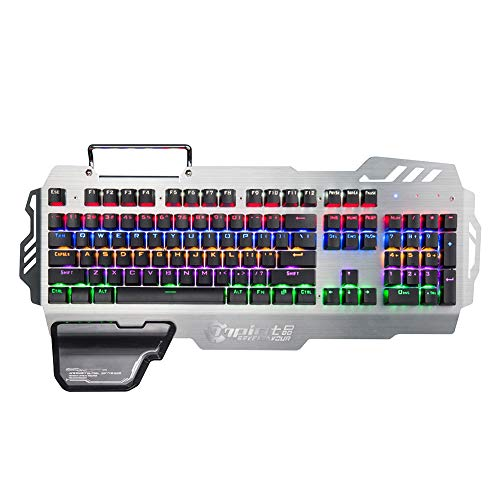 Colorful RGB Backlight Gaming Mechanical Keyboard Built-in 8 Game Backlight Modes with Mobile Phone Holder, Wrist Rest, 104 Keys,Ergonomic Keyboard Suitable for Windows PC Gamers and Offices