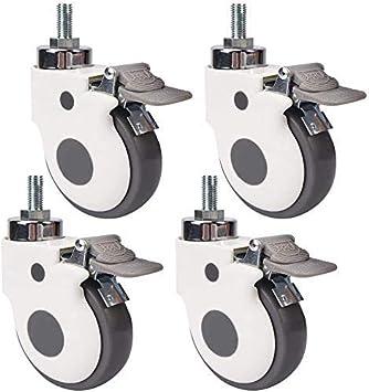 Andre Hasay M8 M12 - Ruedas giratorias de 4 piezas de roscas resistentes con ruedas de goma silenciosas de freno para cuna y transporte industrial, 4inch M12 4brake