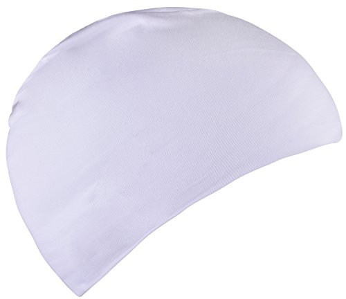 Baby Sleep Hat Night Caps for Sleeping Cotton Beanie for Kids Boys White White Boys (White Cotton Skull Cap)
