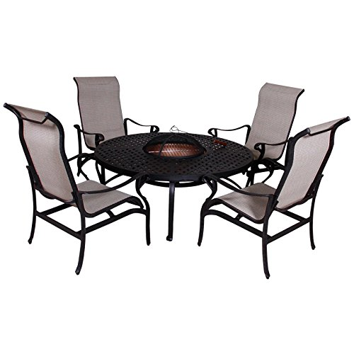 CALIFORNIA CASUAL Lorraine Chat Height Fire Pit 5-piece Set