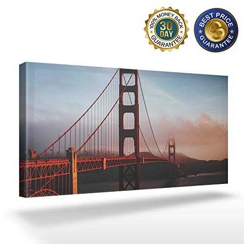 OUR WINGS Canvas Print Wall Art Decor American Architecture Golden Gate Bridge Wall Art Painting The Picture Print On Canvas for Home Modern Decoration 16x32in]()