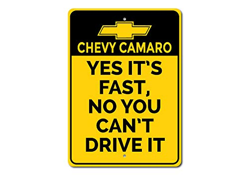 Fast Car Sign, Chevy Camaro Sign, Chevy Logo Sign, Camaro Lover Gift, Camaro Owner Gift, Dad Car Decor - Quality Aluminum Sign - 10