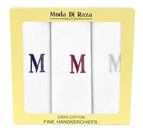 Moda Di Raza - Men's Cotton Hanky Monogrammed Handkerchiefs Initial Letter - - Mens Handkerchiefs Personalized