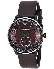 امبوريو ارماني ساعة للرجال بمينا لون خمري و سوار من الجلد - AR1801