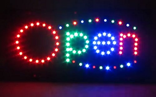 2xhome - Open Sign - Flashing Animated Moving Motion High Visible Bright 3 Colors Big Chip LED Neon Sign Light On Off Switch Button Chain 19x10 for Business Drink Food Restaurant Diner Cafe Bar Pub Coffee Shop Store Wall Window Display Fixture (3 Pub Light)