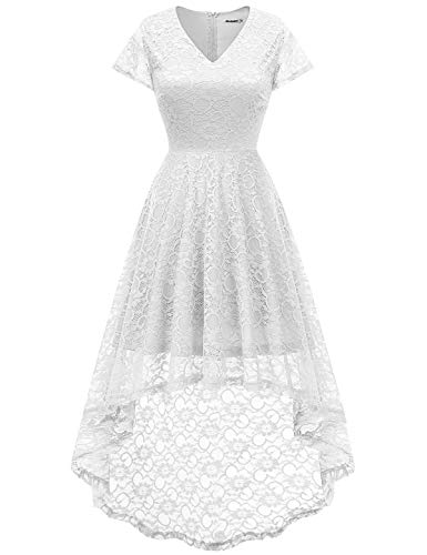 Bbonlinedress Women's Floral Lace Hi-Lo Cap Sleeve Formal Cocktail Party Dresses White L