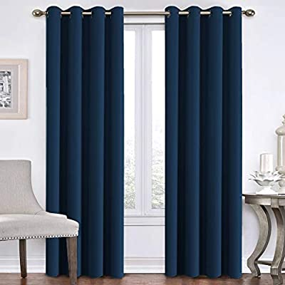 "Flamingo P Blackout Curtains for Bedroom Navy Curtains Thermal Insulated Curtains 84 inch Length Home Fashion Window/Door Panel Drapes for Living Room, Antique Grommets, 52"" W x 84"" L - Set of 2 - ★DESIGN STRUCTURE: 2 panels per package. Each Blackout Curtain measures 52 inch with 8 grommets top. Inner diameter of grommet is 1.6"", fit well with standard or decorative curtain rods. ★UPGRADED MATERIAL: Microfiber blackout fabric with triple weave fabric construction. Ultra soft and high density smooth microfiber gives you a velvety feeling, and blocks 99% sunlight and 100% UV ray. Natural materials and no harmful chemicals and synthetic materials are added, making it safe for you and your family. ★NATURAL BLACKOUT: These soft heavy and durable blackout curtains are energy saving/efficient curtains as they are made of materials with thermal insulation properties. They will prevent heat-loss and block sunlight from entering into the room. - living-room-soft-furnishings, living-room, draperies-curtains-shades - 41cTu4VylSL. SS400  -"
