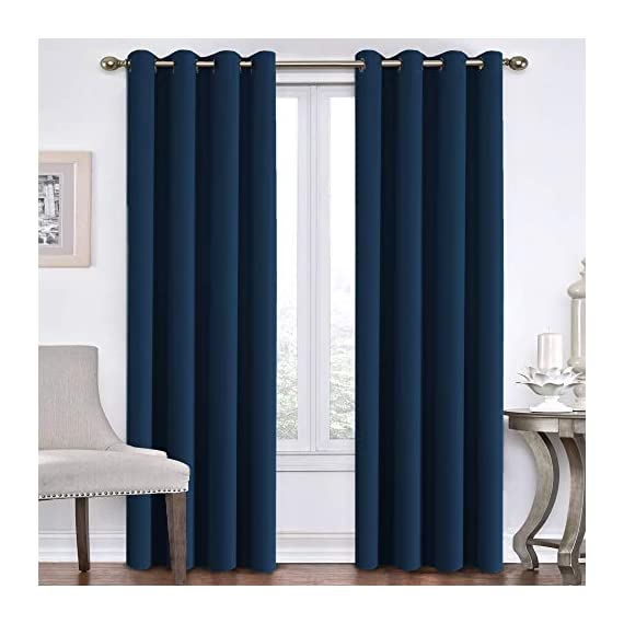 """Flamingo P Blackout Curtains for Bedroom Navy Curtains Thermal Insulated Curtains 84 inch Length Home Fashion Window/Door Panel Drapes for Living Room, Antique Grommets, 52"""" W x 84"""" L - Set of 2 - ★DESIGN STRUCTURE: 2 panels per package. Each Blackout Curtain measures 52 inch with 8 grommets top. Inner diameter of grommet is 1.6"""", fit well with standard or decorative curtain rods. ★UPGRADED MATERIAL: Microfiber blackout fabric with triple weave fabric construction. Ultra soft and high density smooth microfiber gives you a velvety feeling, and blocks 99% sunlight and 100% UV ray. Natural materials and no harmful chemicals and synthetic materials are added, making it safe for you and your family. ★NATURAL BLACKOUT: These soft heavy and durable blackout curtains are energy saving/efficient curtains as they are made of materials with thermal insulation properties. They will prevent heat-loss and block sunlight from entering into the room. - living-room-soft-furnishings, living-room, draperies-curtains-shades - 41cTu4VylSL. SS570  -"""